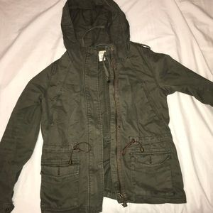 H&M military army green hooded jacket Slytherin